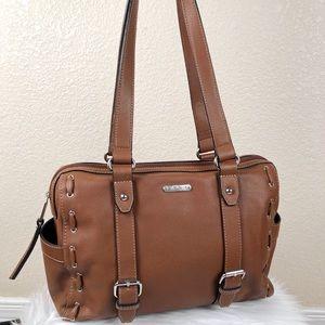 Chaps Faux Leather Saddle Satchel Bag
